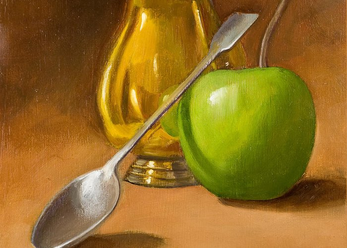 Sill Life Greeting Card featuring the painting Spoon And Creamer by Joni Dipirro