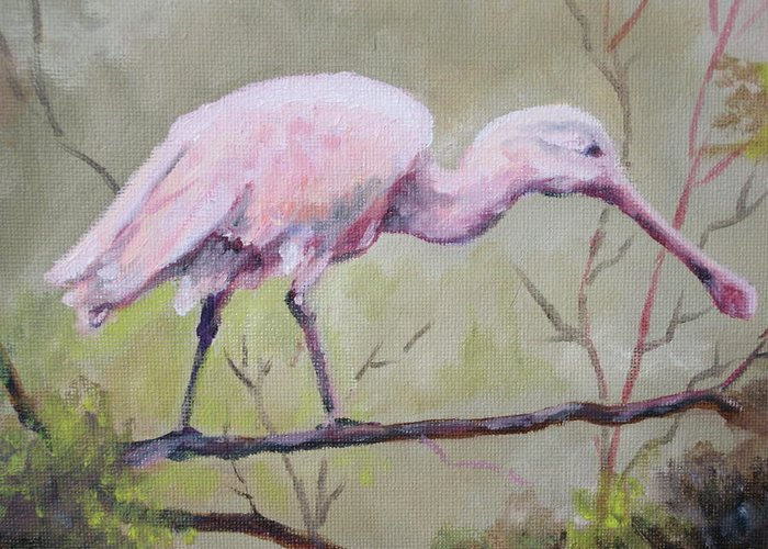 Bird Greeting Card featuring the painting Spoonbill by Carol Mueller