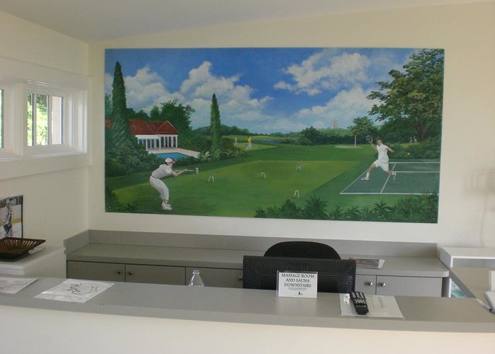 Greeting Card featuring the painting sports images mural-Mountain Lake -Florida by Scott K Wimer