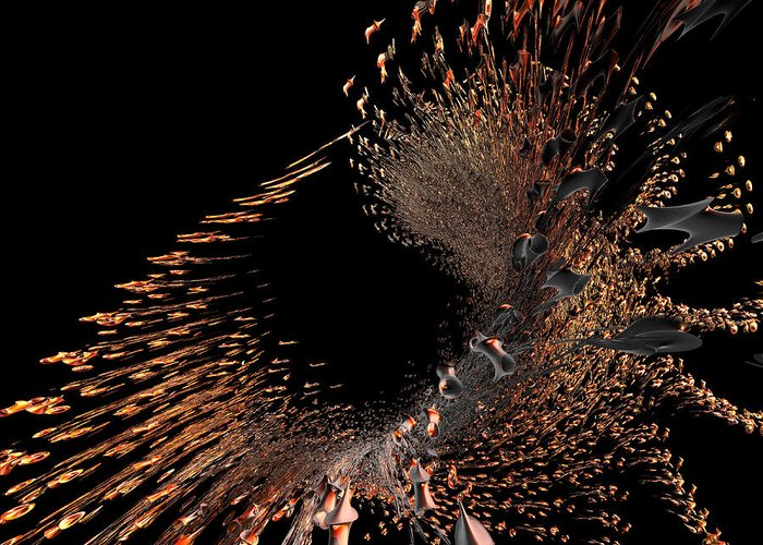 Incendia Greeting Card featuring the digital art Spray Of Gold by Deborah Benoit