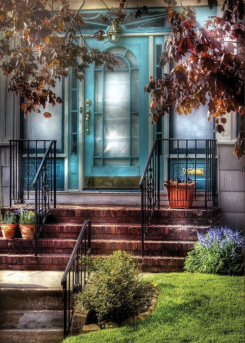 Savad Greeting Card featuring the photograph Spring - Door - Apartment by Mike Savad