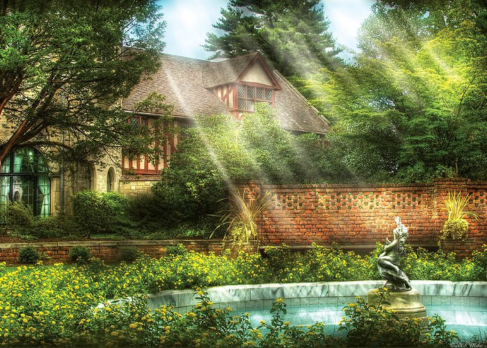 Savad Greeting Card featuring the photograph Spring - Garden - The Pool Of Hopes by Mike Savad