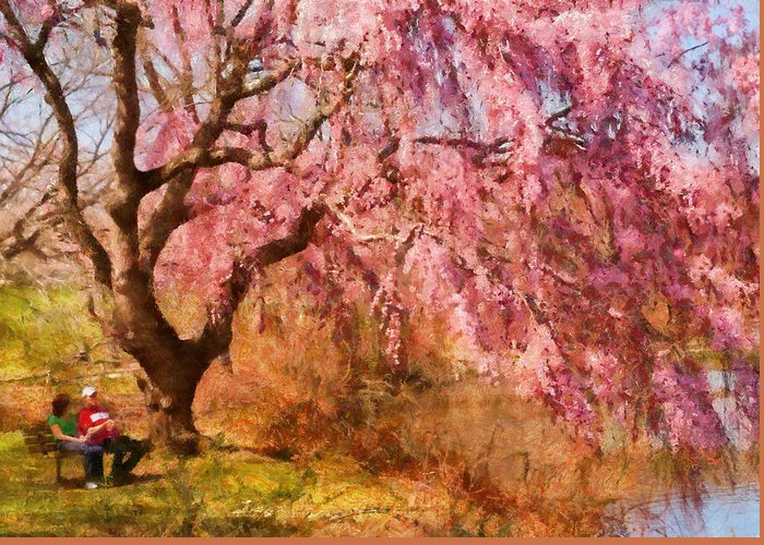 Suburbanscenes Greeting Card featuring the photograph Spring - Sakura - A Beautiful Spring Day by Mike Savad