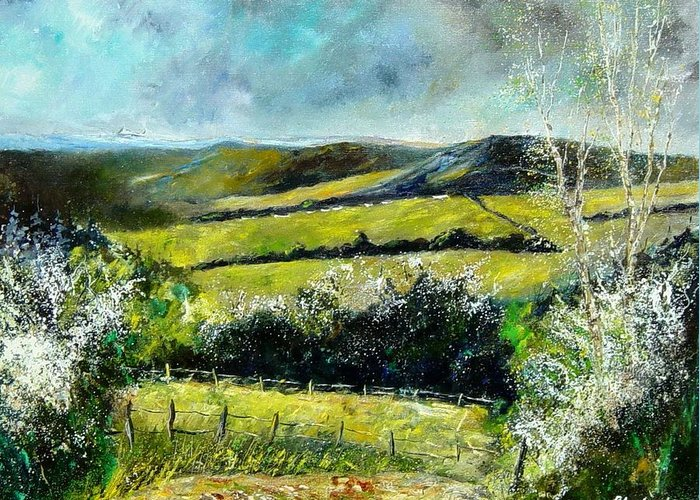 Landscape Greeting Card featuring the print Spring 79 by Pol Ledent