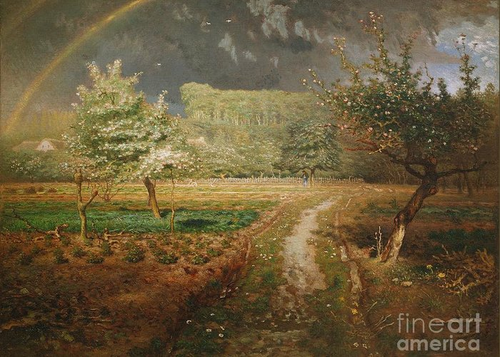 Spring Greeting Card featuring the painting Spring At Barbizon by Jean Francois Millet