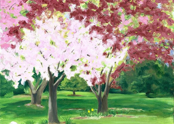 Spring Greeting Card featuring the painting Spring At Osage Land Trust by Paula Emery