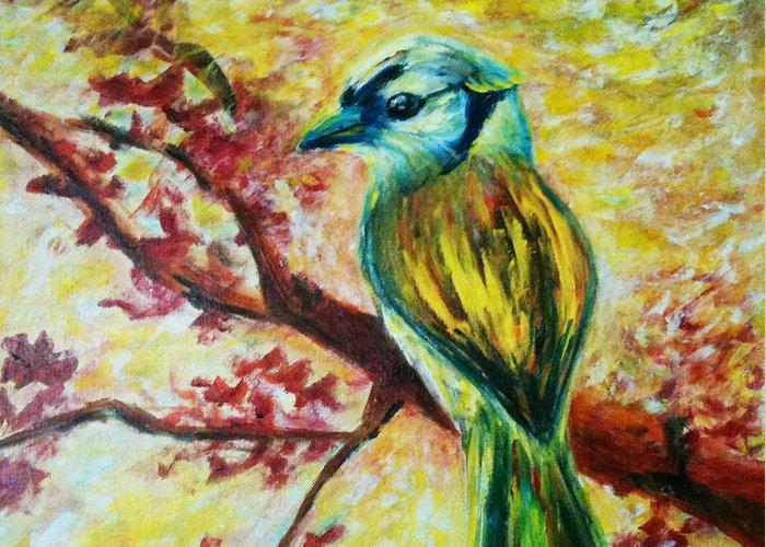 Bird On A Tree Greeting Card featuring the painting Spring Bird by Rashmi Rao