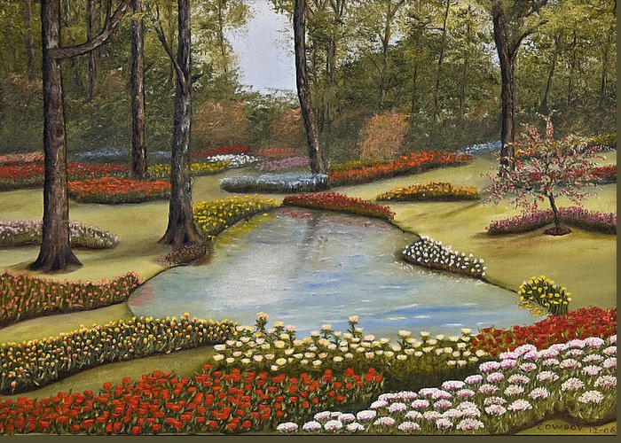 Flowers Greeting Card featuring the painting Spring Blooms by Darren Yarborough