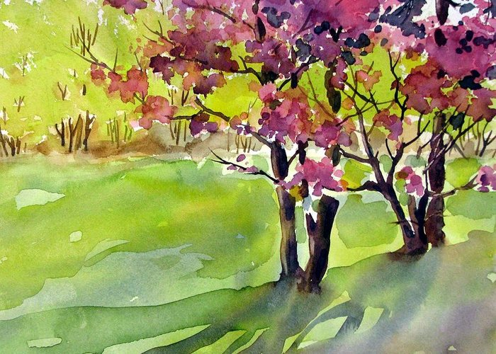 Watercolor Greeting Card featuring the painting Spring Blossoms by Chito Gonzaga