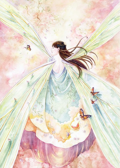 Fairy Greeting Card featuring the painting Spring Blossoms by Janet Chui