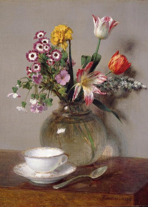 Spring Greeting Card featuring the painting Spring Bouquet by Ignace Henri Jean Fantin-Latour