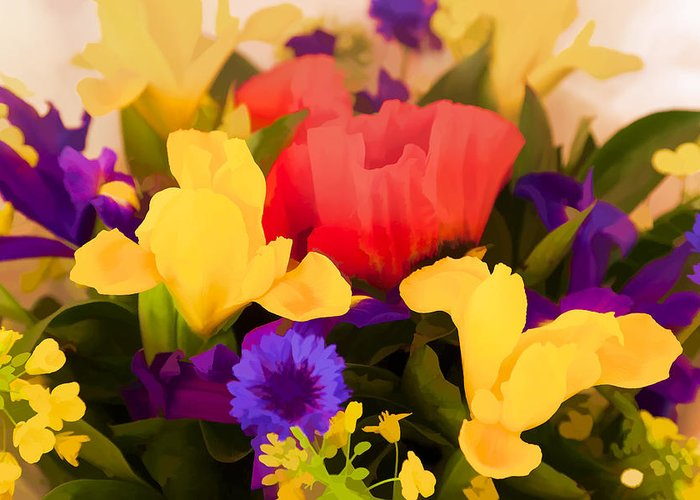 Flowers Greeting Card featuring the digital art Spring Bouquet by Janet Fikar