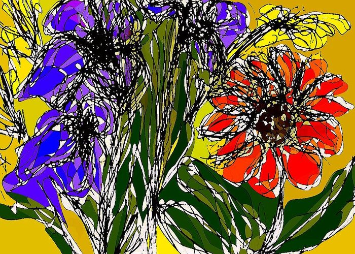 Drawing Greeting Card featuring the digital art Spring bouquet by Joseph Ferguson