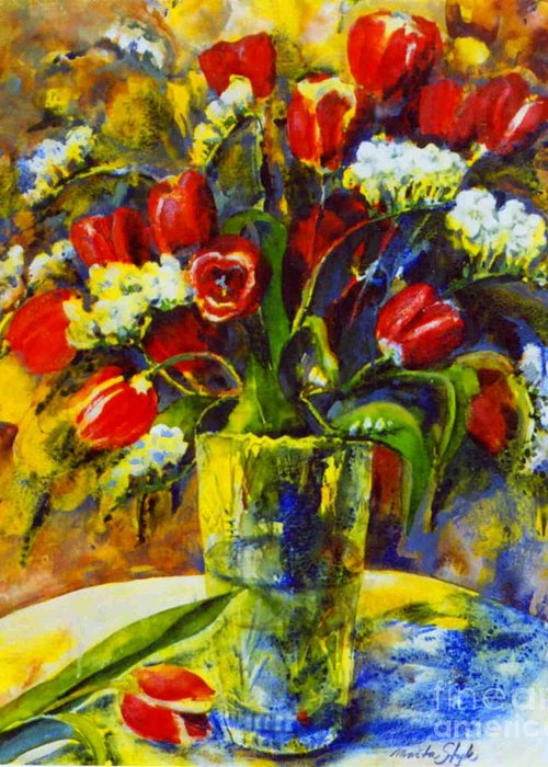 Flowers Greeting Card featuring the painting Spring Bouquet by Marta Styk