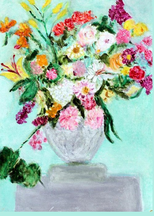 Still Life Greeting Card featuring the painting Spring Bouquet by Michela Akers