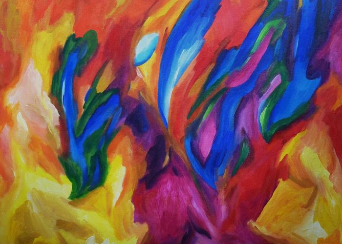 Diconnollyart Greeting Card featuring the painting Spring Bursts by Dianne Connolly