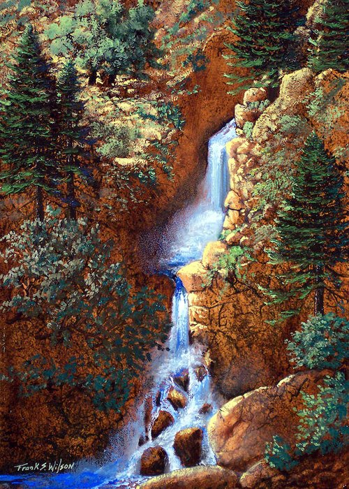 Wilderness Greeting Card featuring the painting Spring Cascade by Frank Wilson