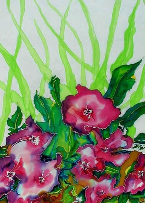 Flora Greeting Card featuring the painting Spring Celebration 1 by Ferril Nawir