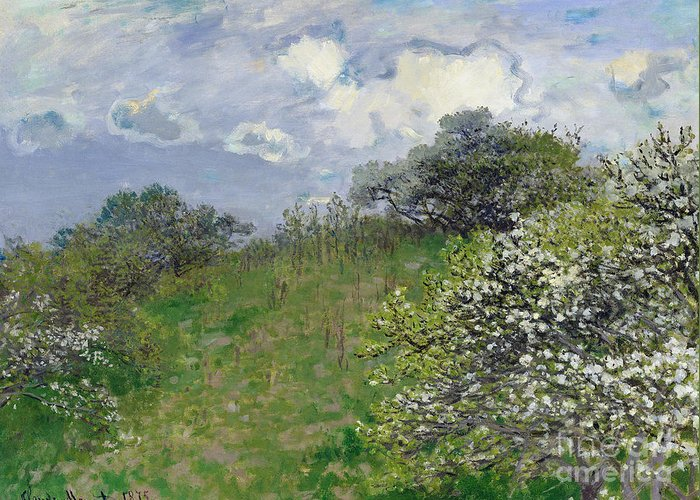 Spring Greeting Card featuring the painting Spring by Claude Monet