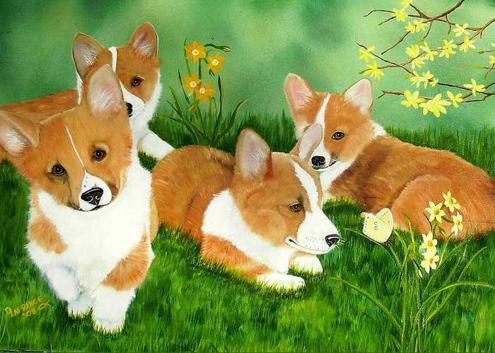 Corgi Greeting Card featuring the painting Spring Corgis by Debbie LaFrance