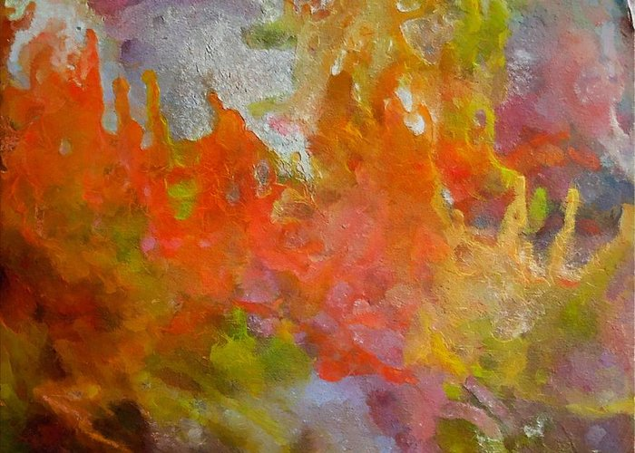 Abstract Greeting Card featuring the painting Spring by Dragica Micki Fortuna