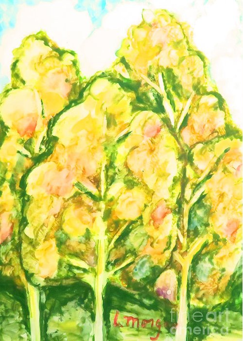 Trees Greeting Card featuring the painting Spring Fantasy Foliage by Laurie Morgan