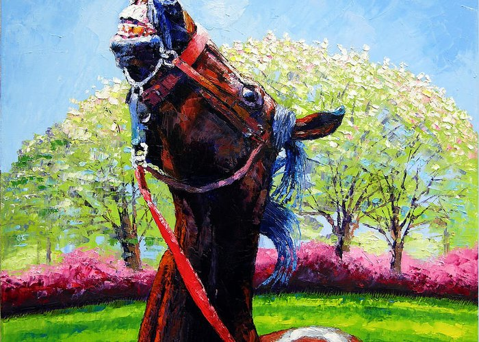 Horse Greeting Card featuring the painting Spring Fever by John Lautermilch