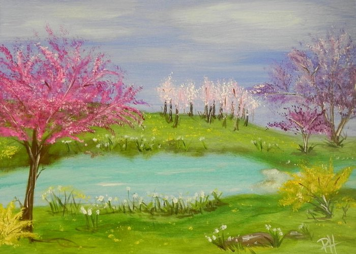 Colorful Greeting Card featuring the painting Spring Fever by Patti Spires Hamilton