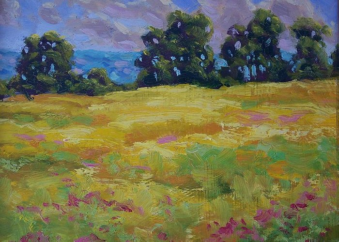 Oil On Canvas Greeting Card featuring the painting Spring Field by Michael Vires