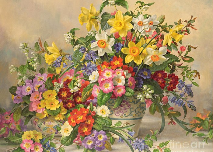 Primula; Daffodil; Primula; Narcissi; Spring Flowers; Flower; Flowers; Pool Pottery Greeting Card featuring the painting Spring Flowers And Poole Pottery by Albert Williams