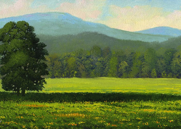 Landscape Greeting Card featuring the painting Spring Flowers by Frank Wilson