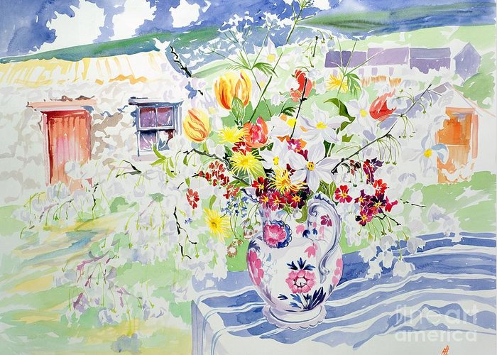 Flower Greeting Card featuring the painting Spring Flowers On The Island by Elizabeth Jane Lloyd