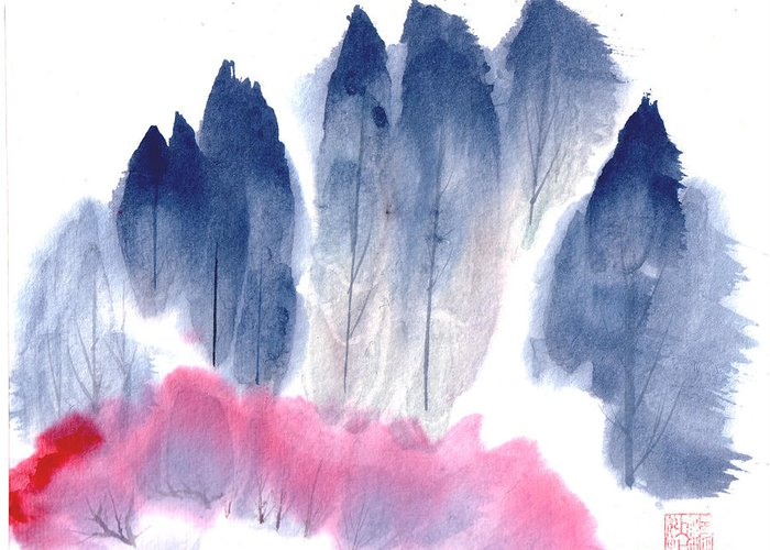 A Forest With Red Blooming Bushes In Spring. This Is A Contemporary Chinese Ink And Color On Rice Paper Painting With Simple Zen Style Brush Strokes.  Greeting Card featuring the painting Spring Forest by Mui-Joo Wee