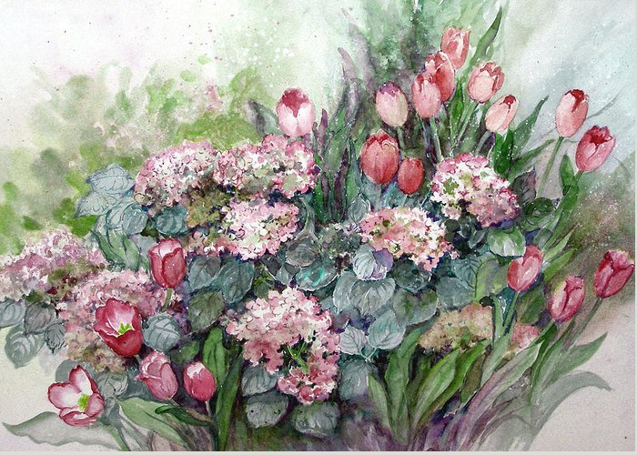 Tulips;spring;hydrangea;floral;flowers;watercolor Painting; Greeting Card featuring the painting Spring Forth In Beauty by Lois Mountz