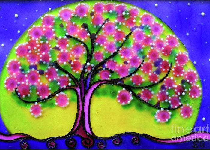 Spring Greeting Card featuring the glass art Spring by Gabriela Stavar