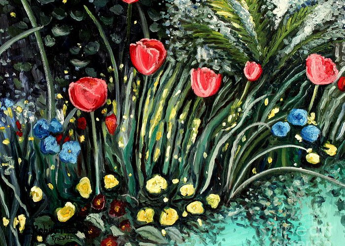 Impressionistic Greeting Card featuring the painting Spring Garden by Elizabeth Robinette Tyndall