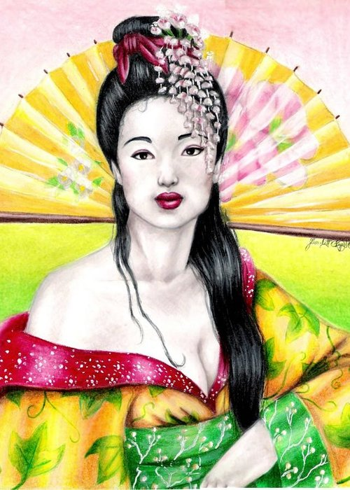 Geisha Greeting Card featuring the drawing Spring Geisha by Scarlett Royal