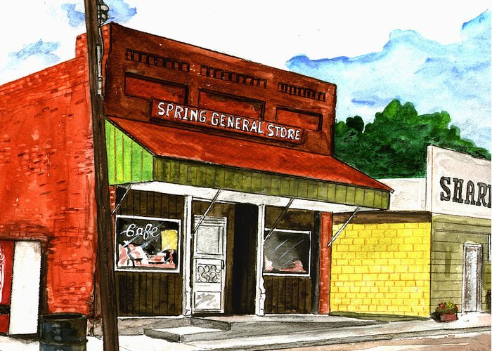Kevin Callahan Greeting Card featuring the painting Spring General Store Sharpsburgh Iowa by Kevin Callahan