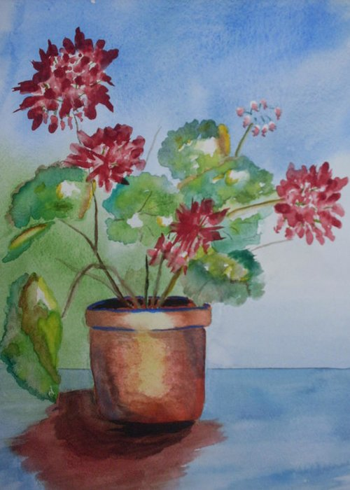 Flowers Watercolor Still Life Greeting Card featuring the painting Spring Geranium 1 by Warren Thompson