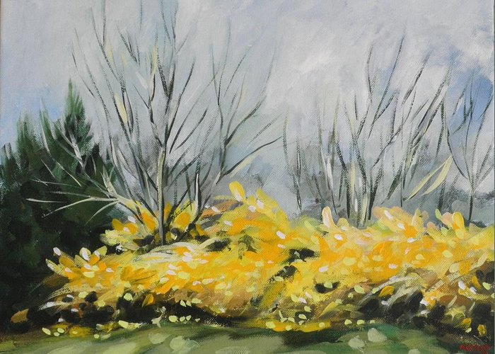 Landscape Greeting Card featuring the painting Spring Has Sprung by Outre Art Natalie Eisen