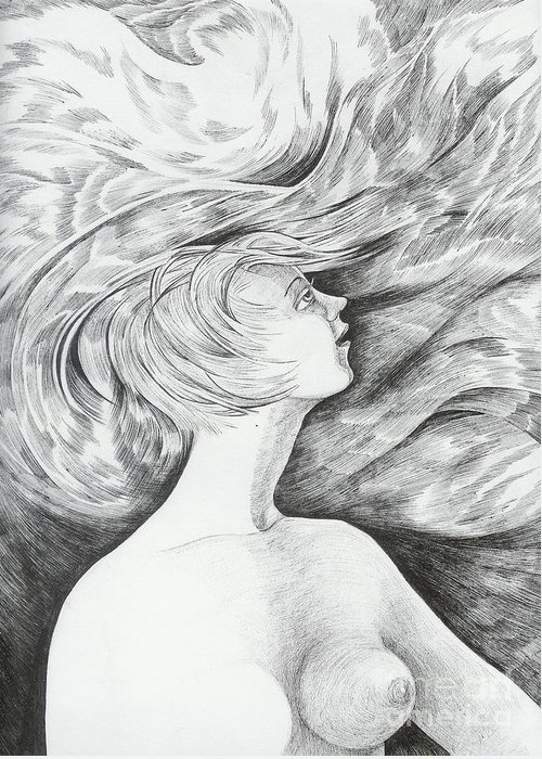 Fantasy Greeting Card featuring the drawing Spring I by Anna Duyunova