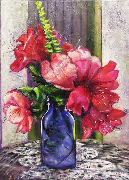 Spring Azalea Cobalt Blue Bottle Fern Crochet Doily Bouquet Pink Floral Greeting Card featuring the painting Spring In A Blue Bottle by Judi Cain