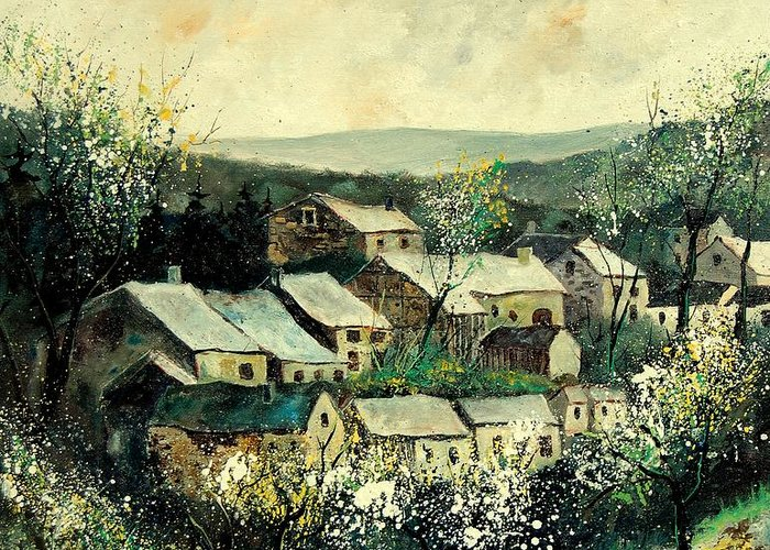 Spring Greeting Card featuring the painting Spring In The Ardennes Belgium by Pol Ledent