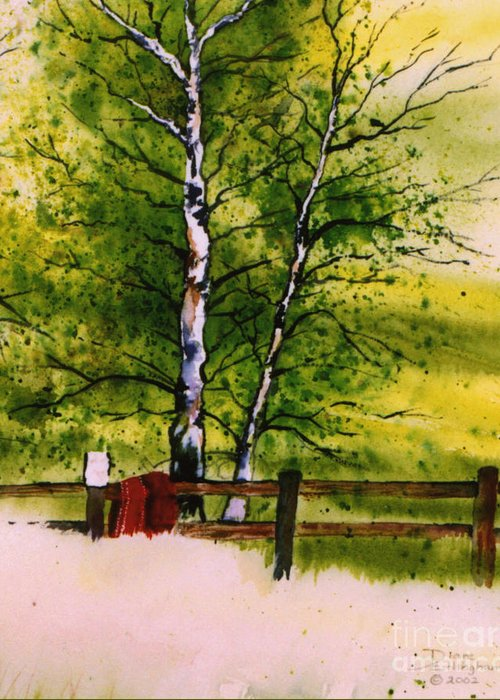 Nature Greeting Card featuring the painting Spring In The Paddock by Diane Ellingham