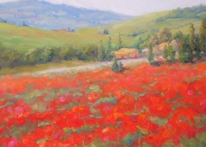 Landscape Greeting Card featuring the painting Spring In Tuscany by Bunny Oliver