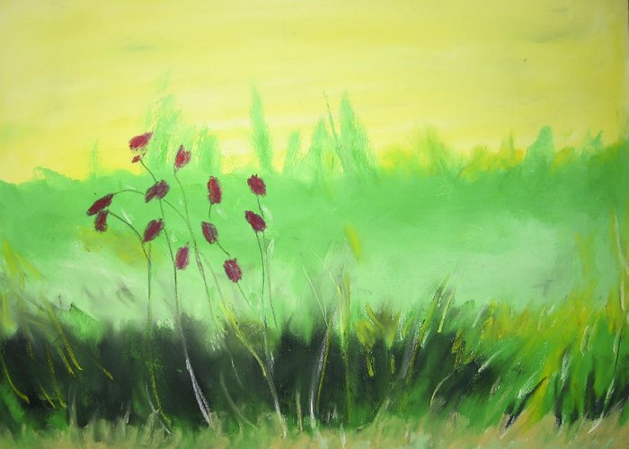 Greeting Card featuring the painting Spring by Ingrid Torjesen