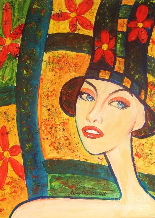 Woman Greeting Card featuring the painting Spring Is In The Air... by Anastasis Anastasi