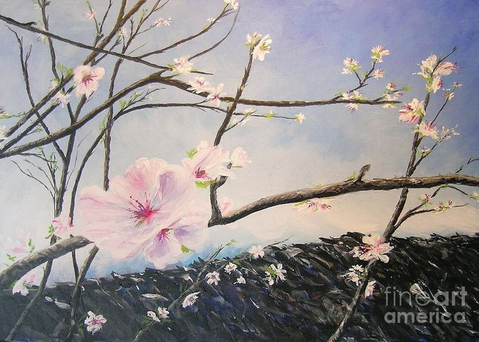 Flower Greeting Card featuring the painting Spring Is In The Air by Lizzy Forrester
