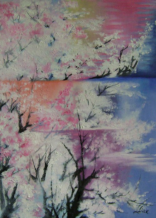 Abstract Greeting Card featuring the painting Spring by Lian Zhen