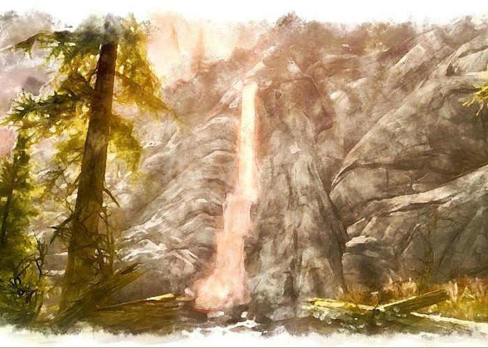 Waterfall Greeting Card featuring the digital art Spring by Marjan Mencin